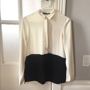 Zara cream and black color block silky blouse XS